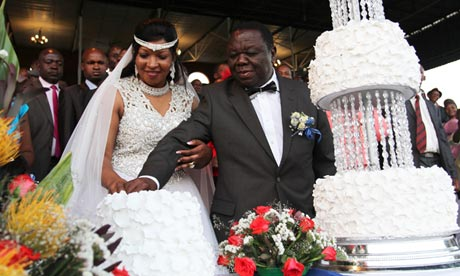 Morgan Tsvangirai marries his wife, Elizabeth Macheka amid controversy, in Harare.
