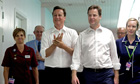 David Cameron Nick Clegg hospital