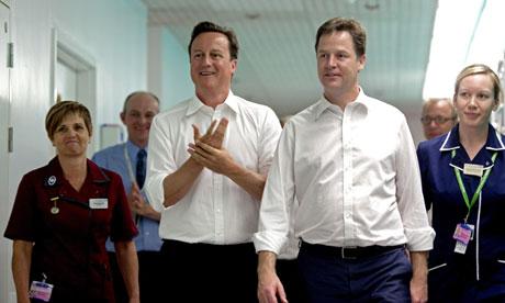 David Cameron Nick Clegg hospital