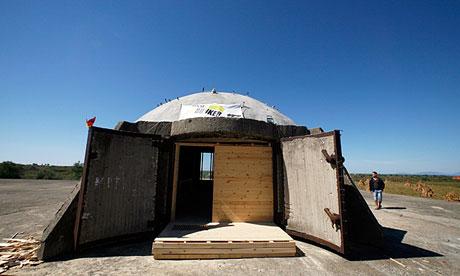 A Communist-era military bunker refitted as a hostel on the Adriatic coast near Tale, Albania.