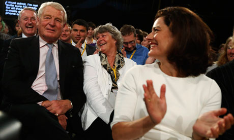 Miriam Gonzalez-Durantez claps as Paddy Ashdown is announced as Lib Dem 2015 election campaign chief