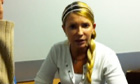 A screengrab from Yulia Tymoshenko's video address to Ukrainians, from prison.