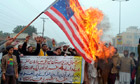 Pakistani demonstrators shout slogans be