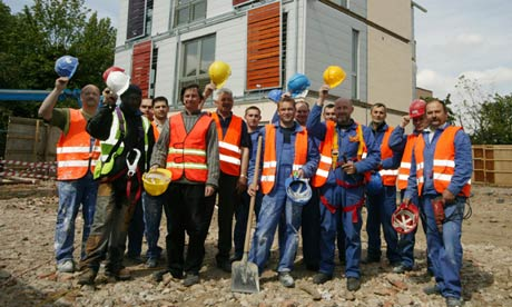 Polish building site workers