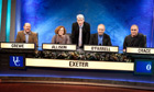 University Challenge … John Crace with his team and Jeremy Paxman.
