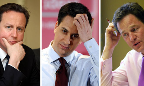 David Cameron, Ed Miliband and Nick Clegg