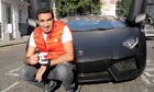 Rashed with his Lamborghini.