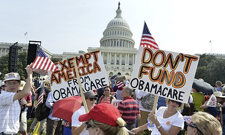 A Tea Party rally against the Affordable Care Act in Washington, DC last month. 'An opinion poll [in] 2012 showed that a majority of Americans, while opposing Obamacare, strongly support most of its provisions.' Photograph: UPI /Landov / Barcroft Media