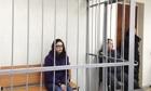 British Greenpeace activist Alexandra Harris in court in Murmansk, Russia.