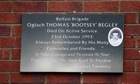 Thomas Begley is unveiled in the Ardoyne area of north Belfast