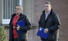 Stevie Deans (l) and fellow Unite official Mark Lyons, outside Grangemouth during talks with Ineos.