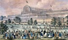 Coloured lithograph by Augustus Butler showing Jospeh Paxton's Crystal Palace in 1851.