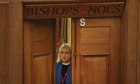 Reverend Rosie Harper stands in the doorway of the now unused 'Bishops Noes' voting lobby before spe