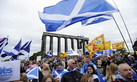 Scottish independence supporters with flag