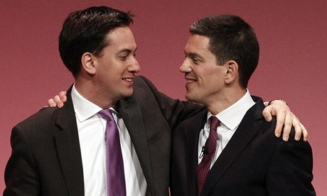 Ed and David Miliband embrace at Labour conference