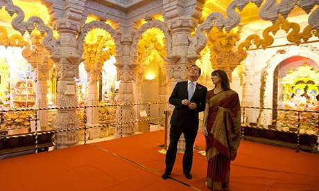 David and Samantha Cameron at the Hindu temple