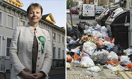 Caroline Lucas in 2010 and a scene from the Brighton rubbish strike.