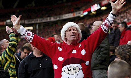 Manchester United fan in a Christmas jumper