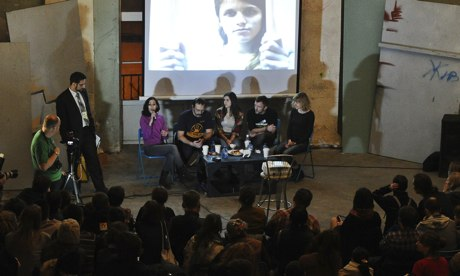 Arctic 30 activists meet residents of St Petersburg on 23 December.