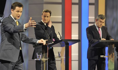 15 April 2010: general election debate between Nick Clegg, David Cameron and Gordon Brown