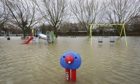 A playground covered by floodwaters in Tonbridge, Kent