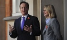 David Cameron and development secretary Justine Greening