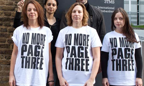 'No More Page Three' protest at News International offices, Wapping, London, Britain - 13 Oct 2012