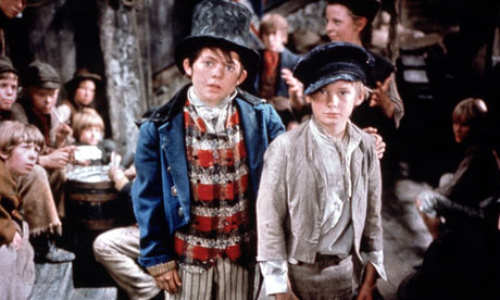 The Artful Dodger (Jack Wild) and Oliver Twist (Mark Lester) in Oliver! (1968)