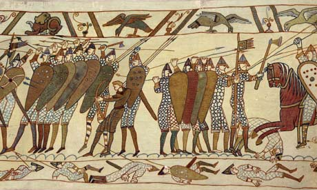A painting of ancient soldiers with shields and arrows.