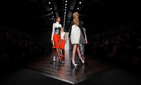 Models wear designs from the Zoe Jordan collection during London Fashion Week