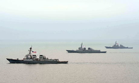 South Korean and US navy ships take part in a military drill