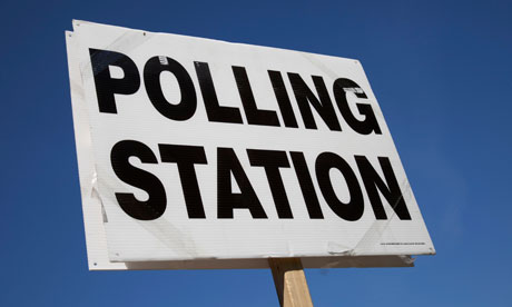 polling station sign, London
