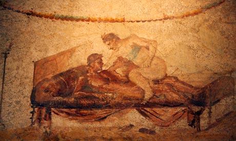 Fresco depicting a brothel scene in Pompeii