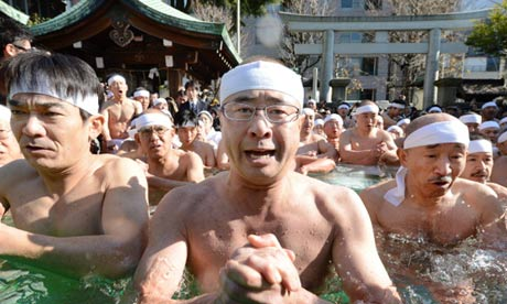 Shinto believers at a purification ceremony in Tokyo