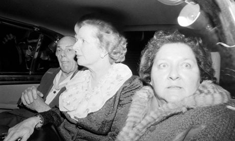 Thatcher leaving Brighton's Grand Hotel in 1984, after the bombing.