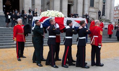 Margaret Thatcher's coffin