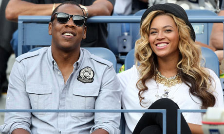 Jay-Z and Beyoncé watching the 2011 US Open tennis