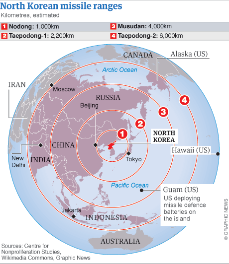 Map: North Korean missile defence ranges and Guam deployment