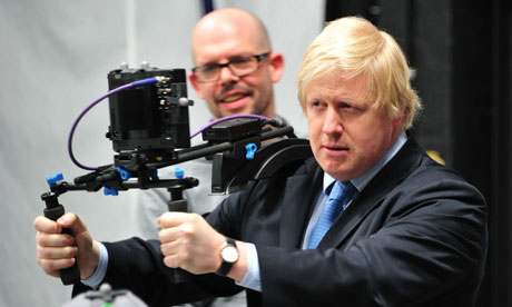 Boris Johnson used animation equipment at Ealing Studios.