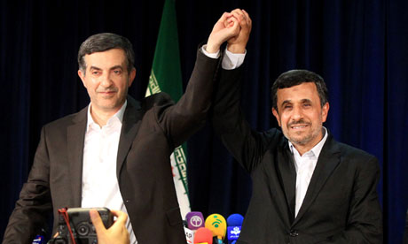 Mahmoud Ahmadinejad and Esfandiar Rahim-Mashaei