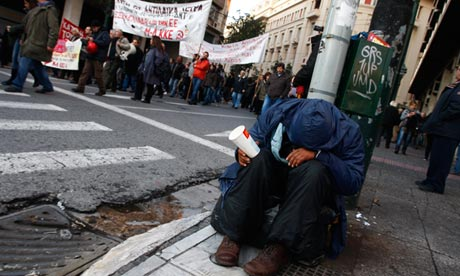 Man begging in Athens