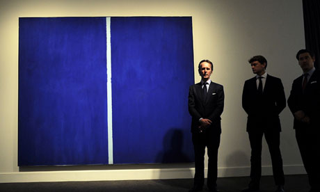 Barnett Newman's Onement VI on display at Sotheby's in New York.