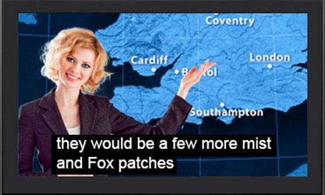 tv set showing weather forecast subtitles