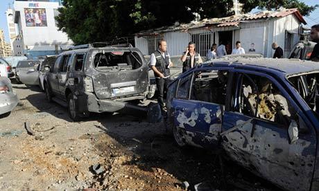 Lebanese police inspect rocket damage