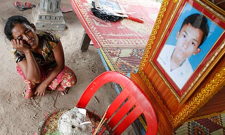 Mother of a Cambodian worker killed when a factory roof collapsed