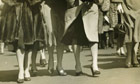 Group of women walking on street