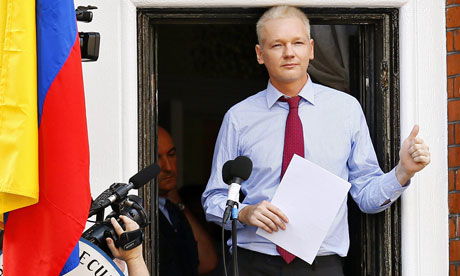 Julian assange praises edward snowden as a hero media for Julian balcony