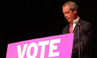 Leader of UK Independence Party Nigel Farage speech met by protesters