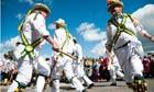 Morris men dancing at Upton-upon-Severn folk festival, UK