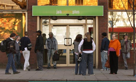 People waiting outside a jobcentre
